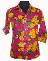Hot Red Trendy High Fashion Casual Women Summer Floral Printed Collar Neck 3/4 Sleeve Rayon Shirts Dress Tops Blouse For Girls