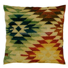Decorative Vintage Hand Woven Source From Indian 100 % Cotton Antique Textile Fabric Kilim Cushion Cover
