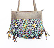 In-House Diamond Embroidered Fabric Tote with Crazy Horse Leather Strap - Orange