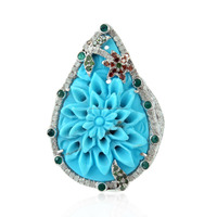 Hot Latest Design Gemstone Ring, 18k White Gold & Silver Pave Diamond Ring Jewelry, Turquoise Flower Carved Gemstone Rings
