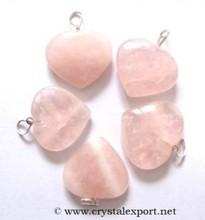 Rose Quartz Hearts Pendants, Gemstone Pendants, Agate Pendants