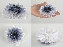 Handmade hair tie with artificial satin ribbon aster flower in gray color shades