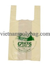 Super market tshirt bag: Promotional supermarket cheaper singlet plastic bag Tshirt with/without printing