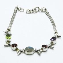 Remind Yourself !! Multi Gems 925 Sterling Silver Bracelet, Silver Jewelry Wholesale, Gemstone Silver Jewelry