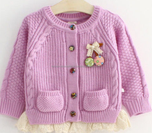 2015 LATEST DESIGN 100% ACRYLIC KNITTED CHILDREN BOW CARDIGAN SWEATER