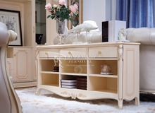 White Furniture Glass Cabinet With Drawers