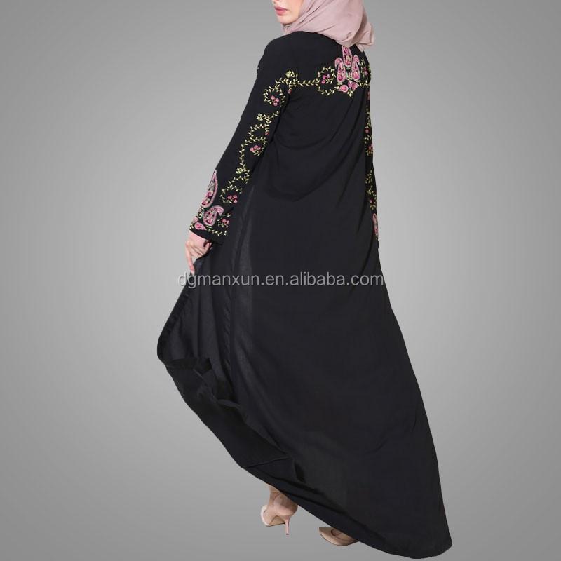 Black embroidered paisley flowing kimono abaya front open abaya