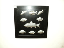 SOI HOT SELLING Decorative Metal & MDF wood wall decor embossed fish designs