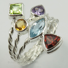 Fabulous 925 Solid Sterling Sliver Genuine PERIDOT, CITRINE, AMETHYST, BLUE TOPAZ, GARNET Gemstone Beautiful Ring Every Sizes