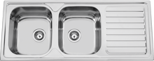 Top Sale Stainless Steel Inox Kitchen Sink, Double bowl drain board Kitchenware Industrial sink, Best spanish price export