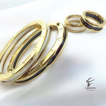 Foreign Trade Stainless Steel Circular Edge Ceramic Bracelet Spring Ring Ceramicl Female Tail Ring Jewelry Set