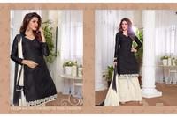 Plain designer Black straight long salwar kameez
