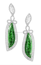 Exclusive design 18K white gold jade earring