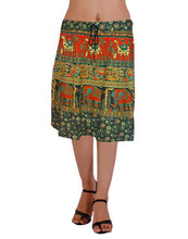 2015 Summer New Women Embroidery green Color Tassels Trimmed Cotton Short Skirt