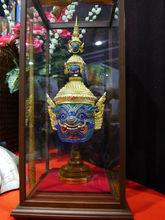 Thai KHON Mask Ramakien Characters Handicraft model size with Glass box