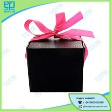 New design black square pink silk bow perfume box