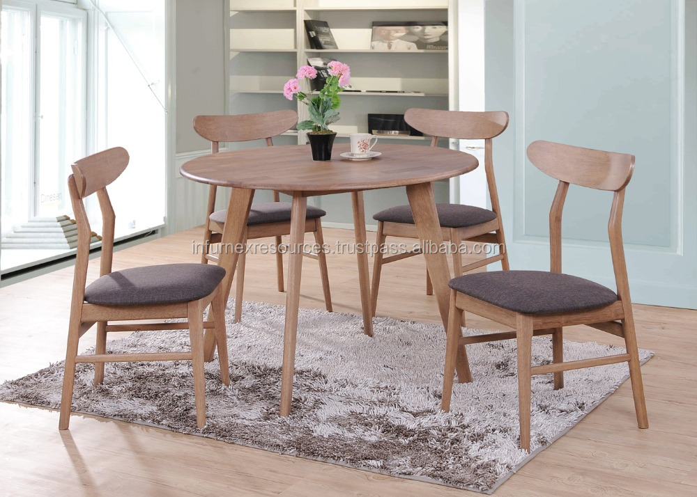 Round Dining Set Round Table Cushion Seat Chair Solid Rubberwood Furniture 3
