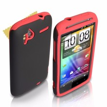 Dual Combo Hard And Soft Silicone Gel Case For The HTC Sensation / Sensation XE - Red / Black