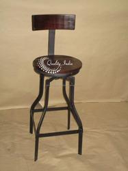 Dark Brown Color Wooden Seat and Metallic Base Rotating Bar Seat