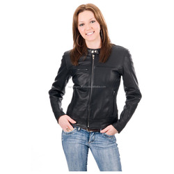 Wholesale factory latest custom tassels woman motorcycle leather jacket