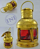Nautical Brass Lantern, Large Coloured Glass Brass Lantern, Decorative Brass Lantern