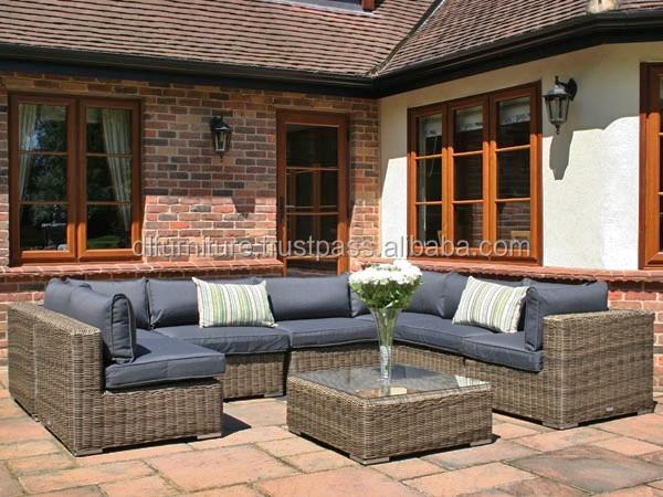 mobiliario de jardim em rattan sintetico: rattan dupla sofá com almofada de vime ao ar livre mobiliário de