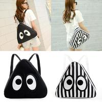 Japanese Fashion Women Triangle Bag Backpack Black Striped Big Eyes Cute #76512
