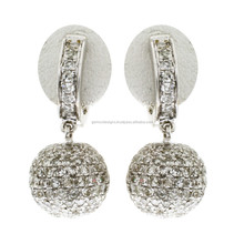 18k White Gold Diamond Hoop Earrings, Fine Pave Setting Diamond Hoop Earrings, Special Occasion Diamond Earrings For Women
