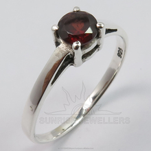 925 Solid Sterling Sliver Genuine GARNET Round Cut Gemstone Beautiful Cute Ring Every Sizes ! Gift For Loved Ones