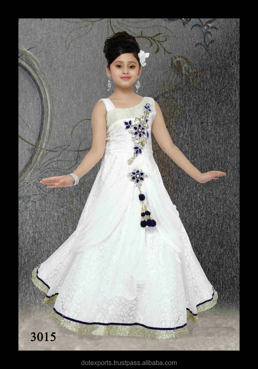 Evening Gown/frock Designs For Kids In White Colour - Buy Kids ...