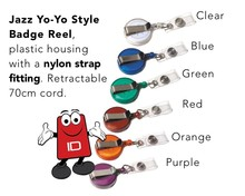 Jazz Badge Reel with strap fitting | Pk 25 | choose from Clear, Blue, Green, Red, Orange, Purple