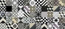 Encaustic cement tiles CTS Patchwork White - Black - Grey