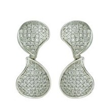 Sterling Silver Earring Pave Tear Drop concave Drop