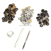 Lowest Price 30 Sets Metal Snap Fastener Poppers Press Studs Kit Sewing Leather Craft Tools Metal Snap Button 3 Colors