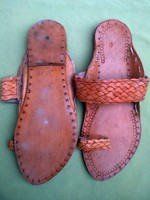 MEN US # 9,PURE LEATHER HANDMADE RAJASTHANI SANDAL INDIAN MOJARI STYLE ART SHOES