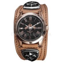 2015 Wrist watches Unique luxury Fashion Stainless Steel Quartz Bikers Men's Leather Bracelets Watch