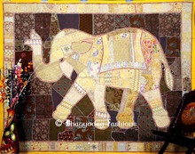 """Indian Wall Hanging Decorative Elephant Patchwork Sequins Handmade Tapestry 90x 108"""""""