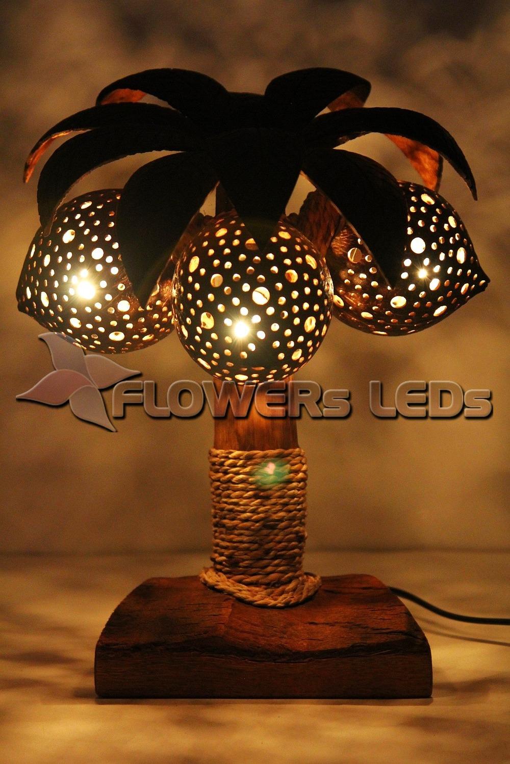 Kokosnoot lamp, verlichting, nachtverlichting, lampen voor home ...