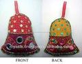 Las campanas de navidad- tela de algodón, de peluche& el trabajo de lentejuelas
