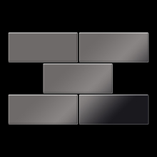 Mosaic massiv metal Titanium Smoke mirror dark grey 1,6mm thick Article Subway-Ti-SM Collection Subway by ALLOY