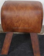 Leather Stool with mango wood legs