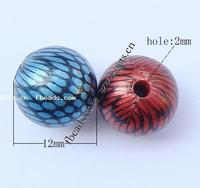 Mixed Acrylic Jewelry Beads Round painted mixed colors 12mm Hole:Approx 2mm Approx 500PCs/Bag Sold By Bag