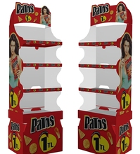 Potato chips cardboard floor display stand