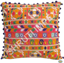 TRADITIONAL INDIAN CUSHION COVER WITH KACHCHI WORK HAND EMBROIDERY & BEAUTIFUL POM POM LACE ON BORDERS GOOD FOR HOME DECOR SI53