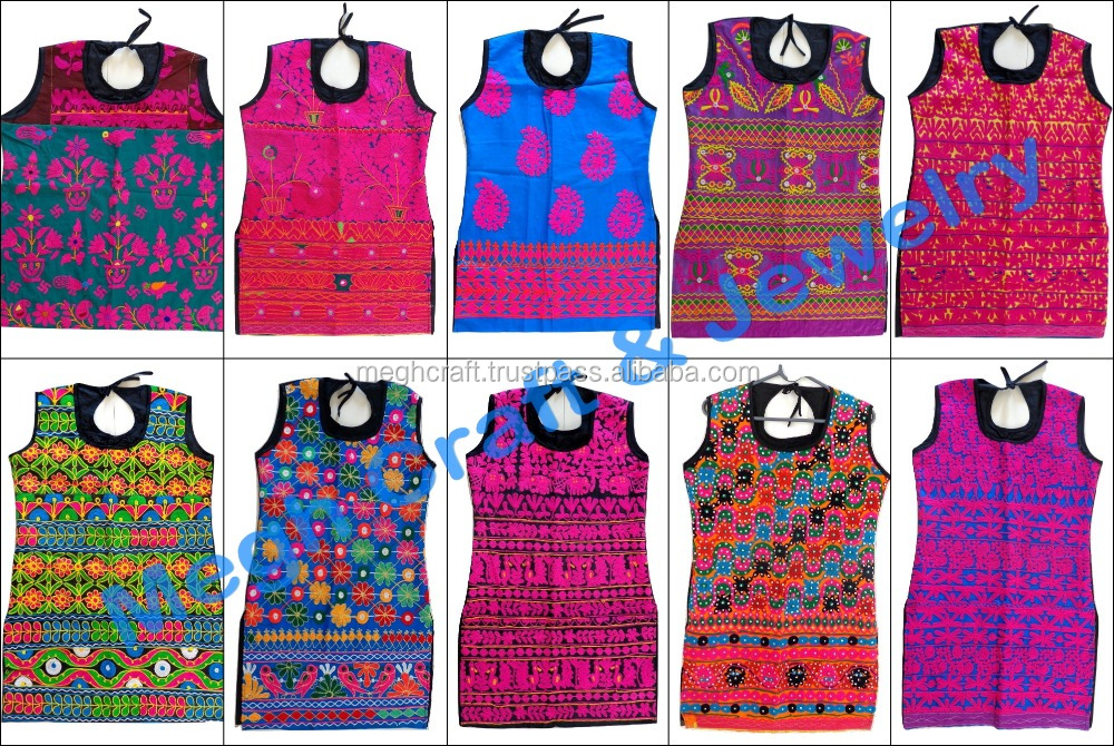 Indian Kutch Hand Embroidery Kurti Top Tunic Blouse