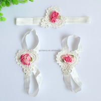New Arrival Baby Girls Shoes Flower Headband Barefoot Sandals Sets Satin Cotton Hair First Walkers Accessories Photography Props