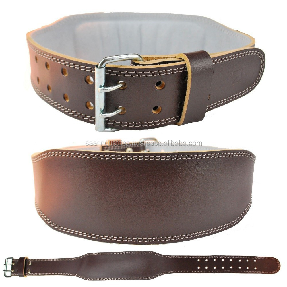 weight lifting belt in brown color made of real leather 4