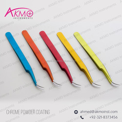 Chrome Colors Curved Lashes Tweezers with Smart Packaging Solutions/ Eyelash Extension Tweezers & Tools