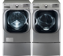 LG Graphite 5.1 Cu Ft Front Load Steam Washer and 9.0 Cu Ft Steam Electric Dryer set with Pedestals WM8000HVA DLEX8000V WDP5V