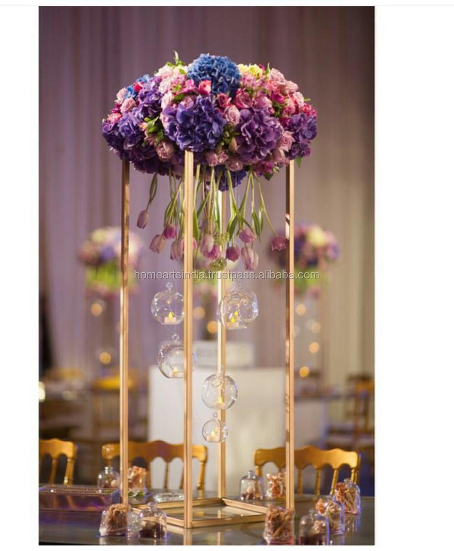 Tall bruiloft tafel middelpunt kandelaar met bloemen kandelaars ...